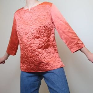 Vintage 60's coral silk floral embroidered top
